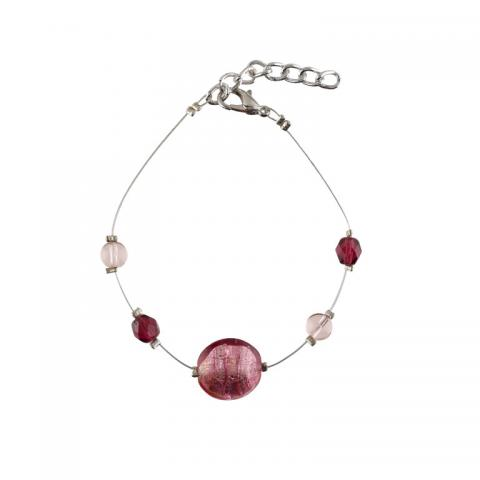 Murano glass pink smartie bracelet