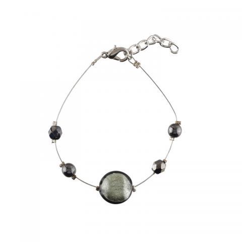 Murano glass dark grey smartie bracelet