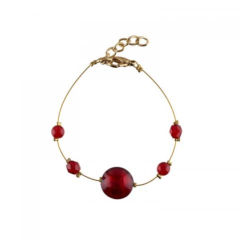 Murano glass red smartie bracelet