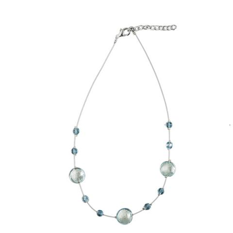 Murano glass pale blue and silver smartie necklace