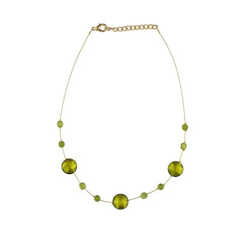 Murano glass emerald green smartie necklace
