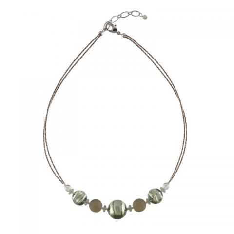 Murano glass silver and green Berenice necklace