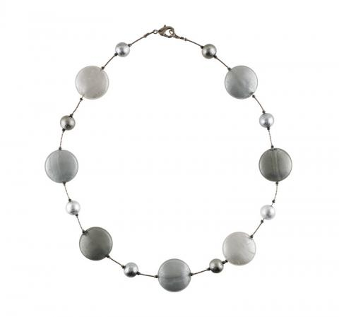 Murano glass silver satin disc necklace