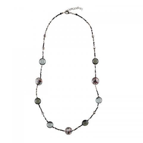 Murano glass grey and primavera beads necklace