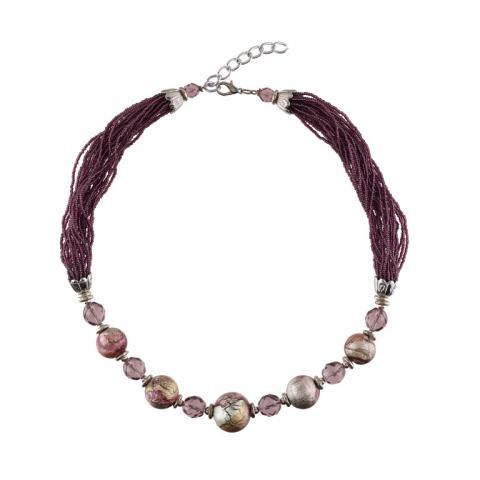 Murano glass purple macchia bead necklace