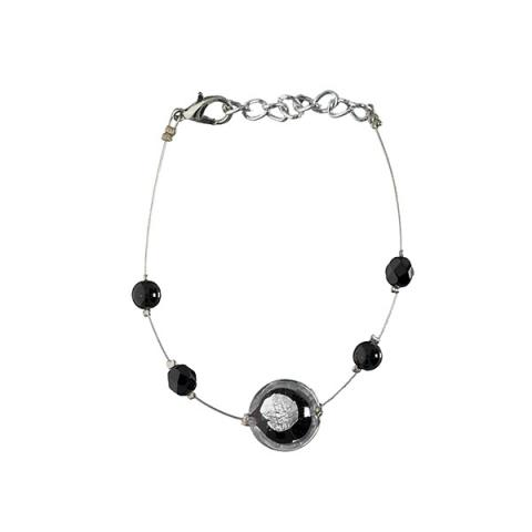 Murano glass black crushed smartie bracelet