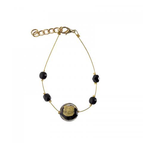 Murano glass black and gold smartie bracelet