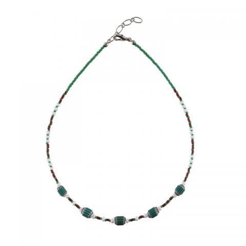 Murano glass small teal rosetta bead necklace