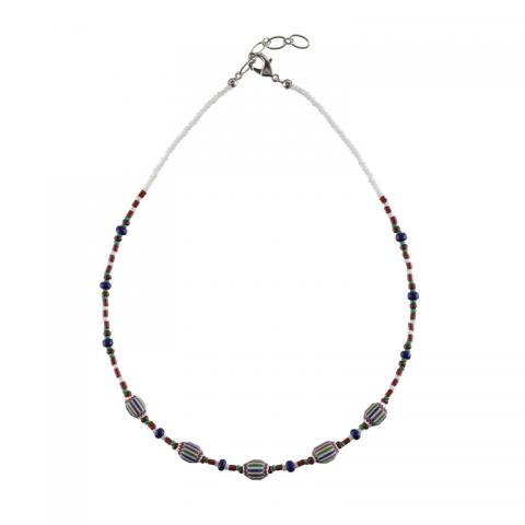 Murano glass small red, blue, and green rosetta bead necklace