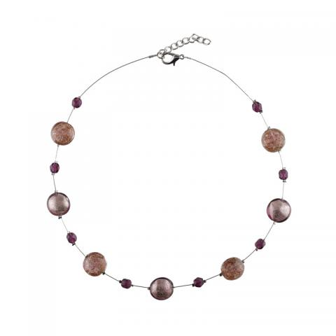 Murano glass seven purple smartie necklace