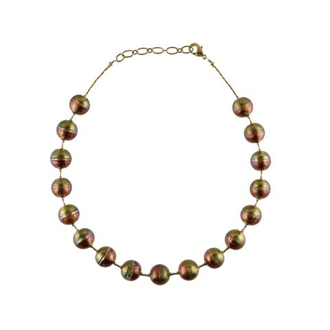 Murano glass two tone bead necklace