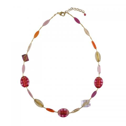 Murano glass pink, orange, and purple large beads necklace