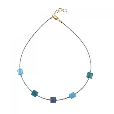 Murano glass cube bead turquoise necklace