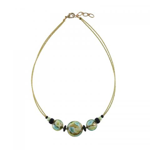 Murano glass blue and gold flat bead necklace