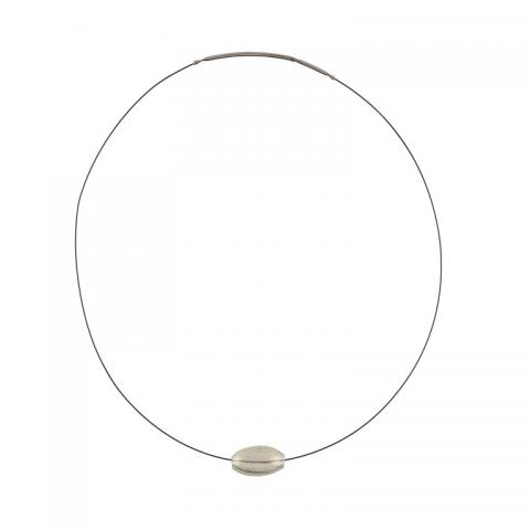 Murano glass single clear bead necklace