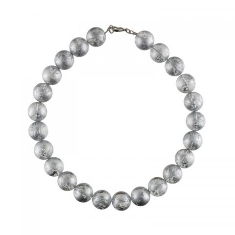Murano glass silver full round beads necklace
