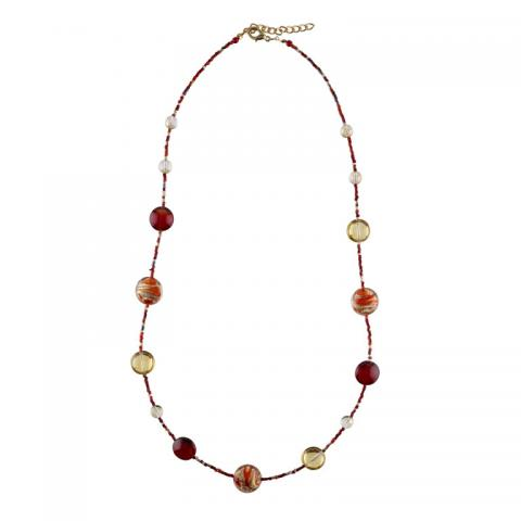 Murano glass red seed and primavera bead necklace