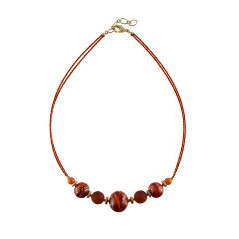 Murano glass red and gold necklace