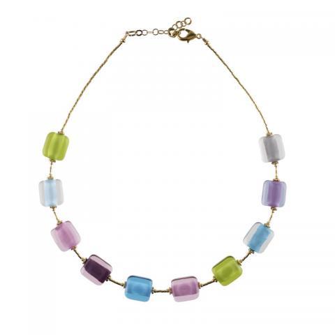 Murano glass green & blue rectangular bead necklace