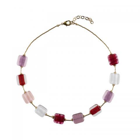 Murano glass pink & red rectangular bead necklace