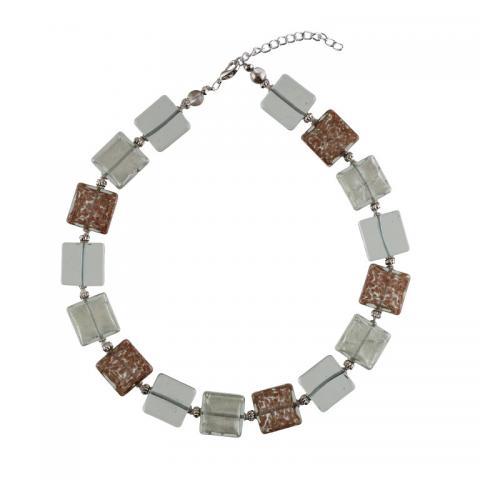 Murano glass avventurina square bead necklace