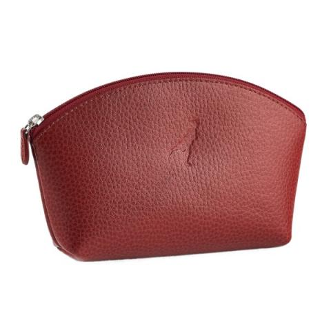 Leather Make Up Bag Red