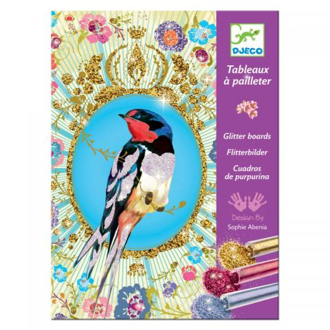 Glitter birds art set