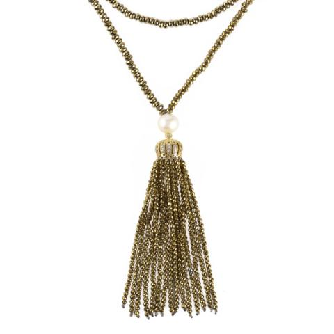 The Real Pearl Gold Hematite and Pearl Tassel Necklace
