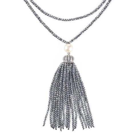 Silver hematite and white pearl tassel necklace