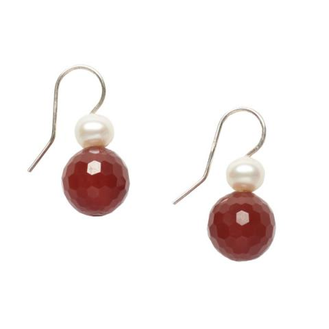 White pearl and agate drop earrings