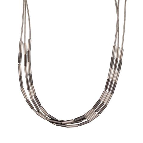 Etnika Zebra Silver Grey Necklace
