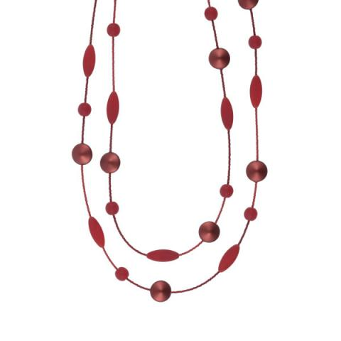 Murano Glass Red Satin Bead Necklace