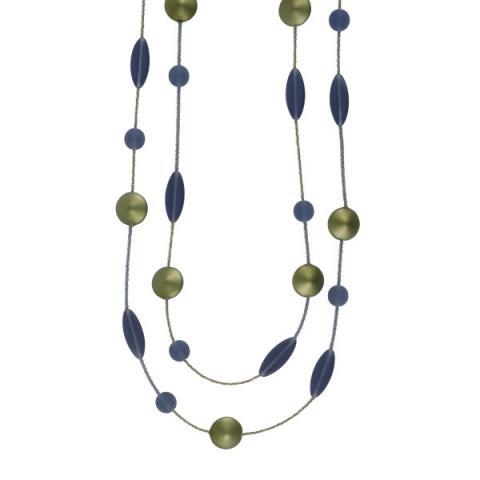 Murano Glass Sage Satin Bead Necklace