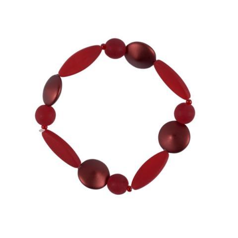 Murano Glass Red Satin Bead Bracelet