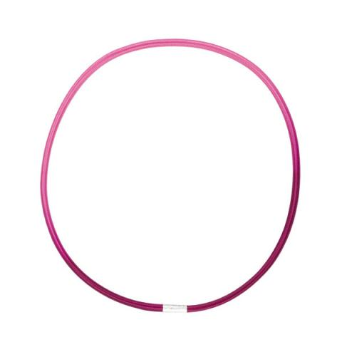 Sterling silver and hand dyed baby cerise pink single loop elastic necklace