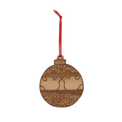 Merry Kissmas wooden Christmas decoration