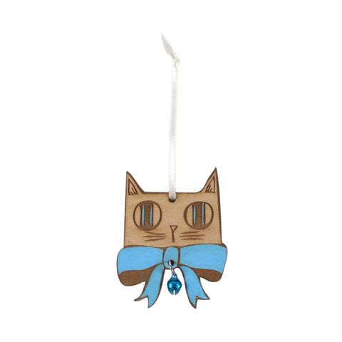 Small Stories Blue Bow Tie Cat Christmas Decoration