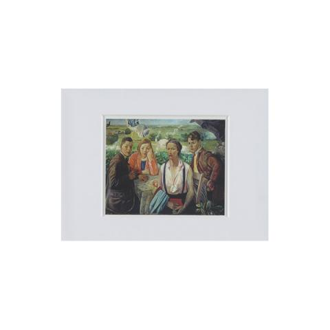 A portrait group by James Cowie ready to frame mounted print (15 x 20 cm)