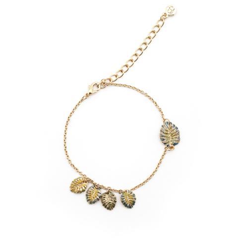 Tropical leaf gold plated charm bracelet