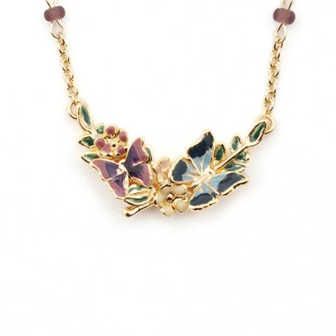Butterfly floral gold-plated pendant necklace
