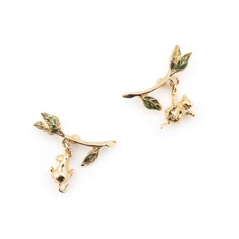 Potting shed playing mice gold plated earrings