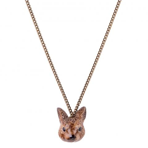 Brown rabbit's head porcelain necklace