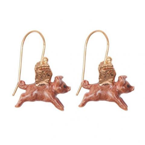 Flying pigs porcelain earrings