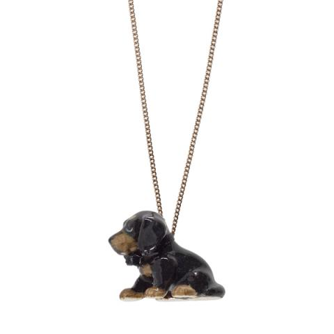 Sitting Dachshund puppy porcelain necklace