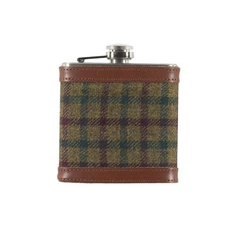 Borders Tweed red and green check hip flask gift set