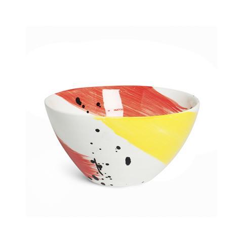 Swish brushstroke red and yellow earthenware salad bowl