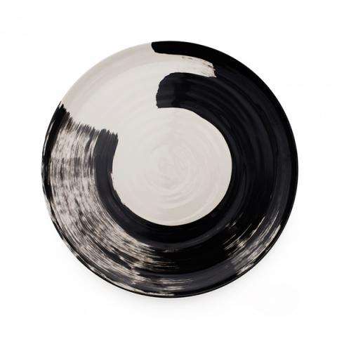 Swish brushstroke charcoal earthenware serving platter