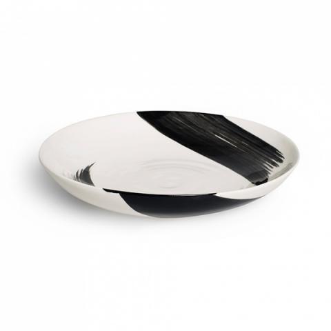 Swish brushstroke charcoal earthenware supper bowl