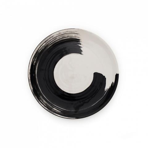 Swish brushstroke charcoal earthenware side plate