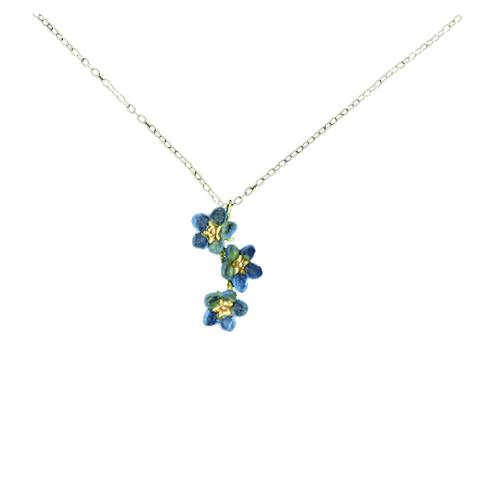 Forget me not glass and bronze pendant necklace